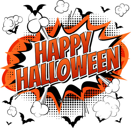 Happy Halloween - Comic book style invitation isolated on white background.