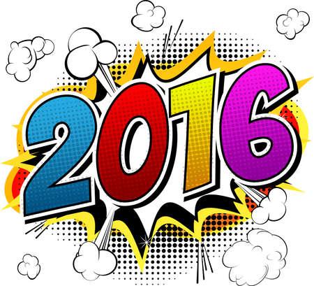 nombres: 2016 - invitation de style de bande dessin�e.