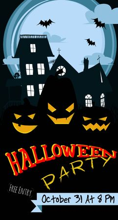 background house: Happy Halloween - abstract holiday poster with old house and Jack-o-lanterns. Illustration