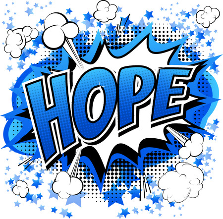 Hope - Comic book style word isolated on white background.