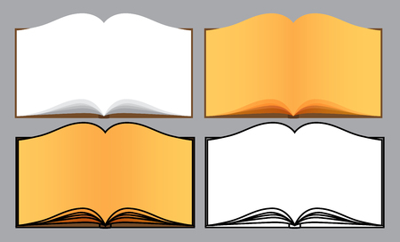 article writing: Set of vector opened books on light gray background.