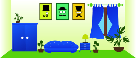 living room design: Vector living room interior design with blue furnitures. Illustration