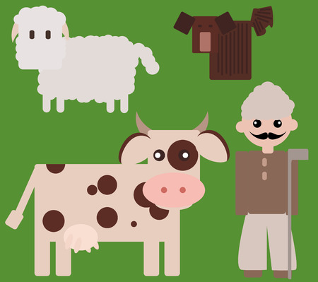 shepherd with sheep: Cute shepherd with cow, sheep and a funny puli dog. Illustration