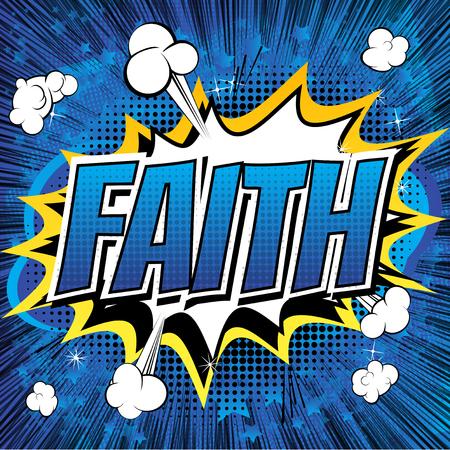 Wiara - styl komiksowy komiksu słowo na abstrakcyjnym tle. Ilustracje wektorowe