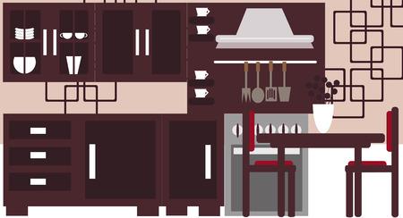 modern kitchen interior: Vector illustration background of a modern kitchen interior.