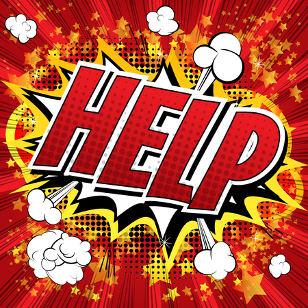Help - Comic book style word on comic book abstract background. Vectores