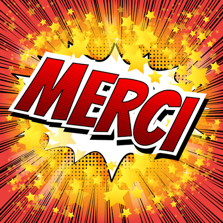Merci - Comic book style word on comic book abstract background. Vectores