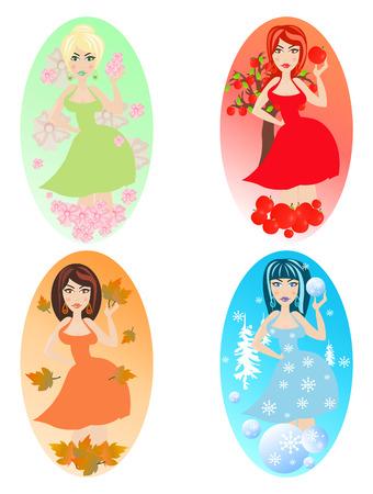 autumn woman: Four pretty woman showing seasons. Vector illustration. Illustration