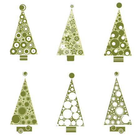 christmass: Beautiful christmass tree vector set on white background.