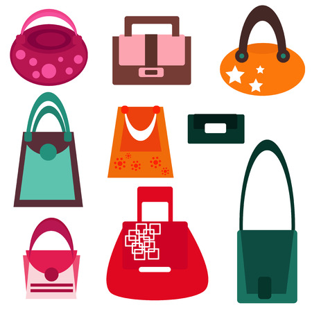 fashion shopping: Set of fashionable womans bags Illustration