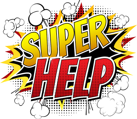 Super Help - Comic book style word on white background.