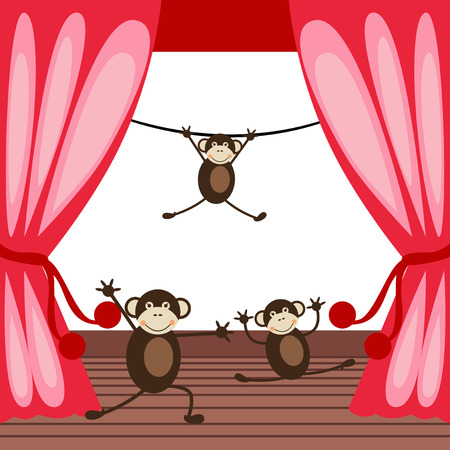 acting: Vector illustrated cute monkeys acting on a stage. Illustration