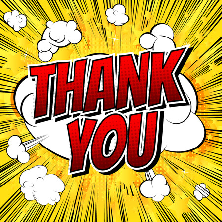 Thank You - Comic book style word on comic book abstract background.