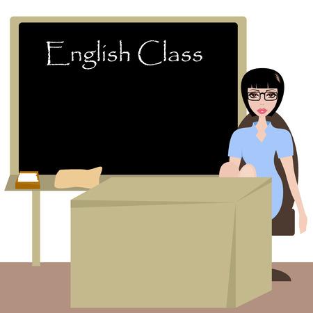 teach: Pretty english teacher in the class room. Illustration