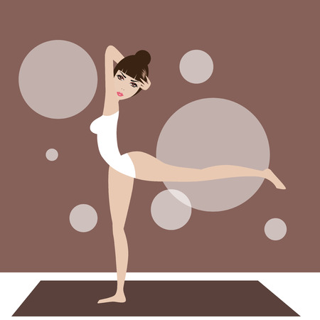 Pretty woman doing yoga exercise with brown backgrounds.
