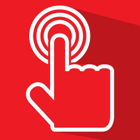 click button: Flat white touch outline illustration icon isolated on red background.