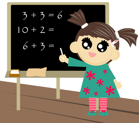 outcome: Little girl counting and writing down the outcome on blackboard.