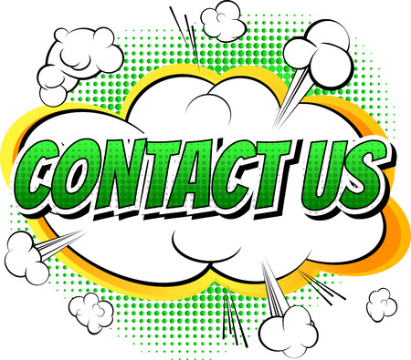 Contact us - Comic book style word on white background.
