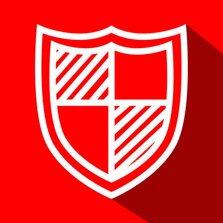 security token: Shield white line flat icon with long shadow. Illustration