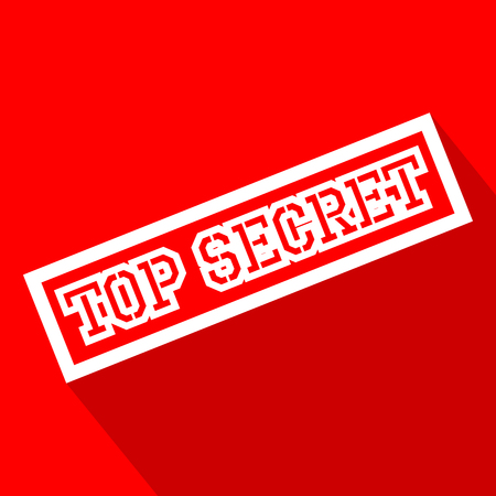 undisclosed: Top Secret white line flat icon with long shadow.