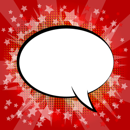 Blank speech bubble on a comic book abstract background.