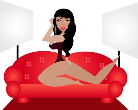 romance bed: illustration of a sexy woman in a photo studio. Illustration