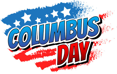 Columbus Day - Comic book style word on abstract american flag background. Vettoriali