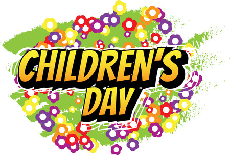 illustration cool: Childrens Day - Comic book style word on abstract background. Illustration