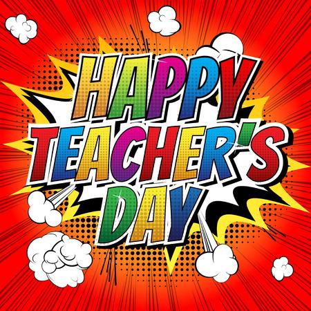 comic: Día maestros feliz - palabra cómico del estilo del libro de cómic de fondo abstracto.