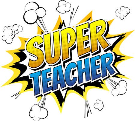 profesores: Súper profesor - palabra cómico del estilo del libro de cómic de fondo abstracto.