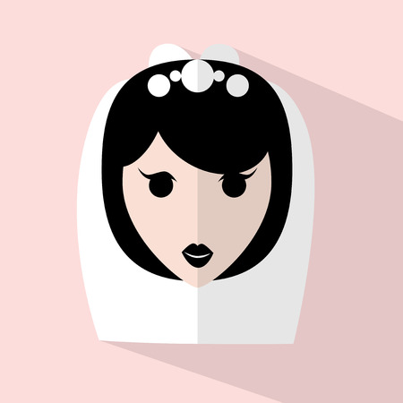 hair fashion: Bride flat icon with long shadow on pink background. Illustration