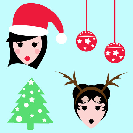 attire: Woman head with Santas hat, with attire, christmas bubble and tree icons.