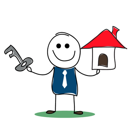 renter:  real estate agent with house model and a key.