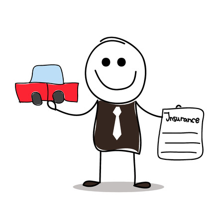 seguro: agente de seguros con el coche y el seguro de contrato. Vectores