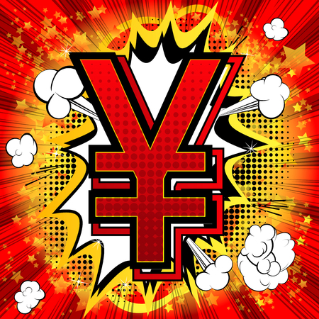 Yen comic book style symbol on abstract background.