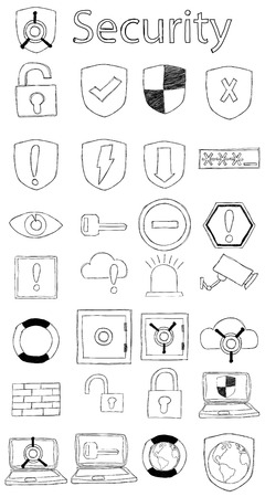 shield: Vector, hand drawn, doodle security icon set.