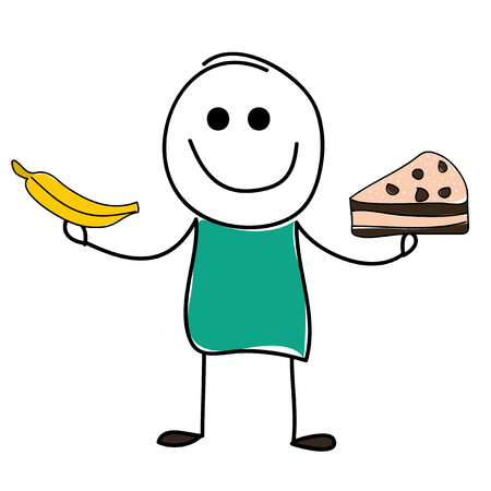 fruit candy: Vector doodle cute man with banana and cake.