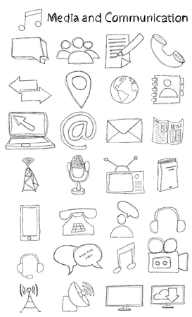 Vector, hand drawn, doodle media and communication icon set. 矢量图像