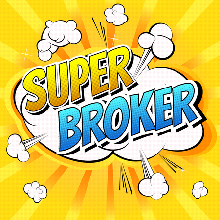 dividend: Super Broker - Comic book style word on comic book abstract background. Vettoriali