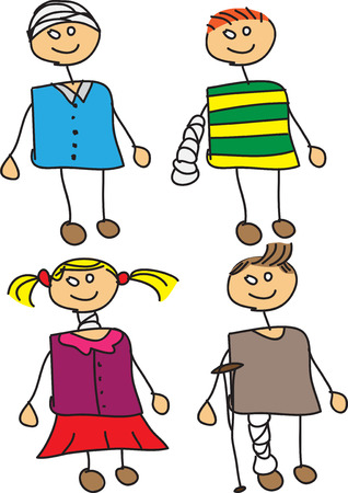 group therapy: Set of vector doodle injured kids with bandages. Illustration