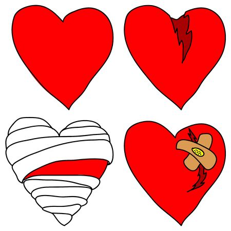 group therapy: Set of vector doodle hearts on white background.