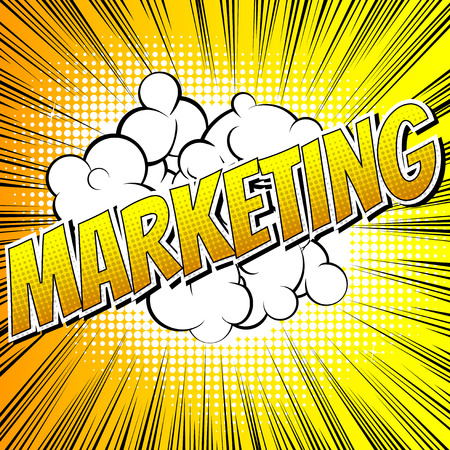 brand activity: Marketing - Comic book style word on comic book abstract background.