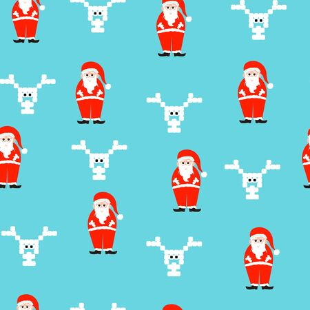 santaclaus: Vector illustration of a christmas pattern with santaclaus and reindeer.