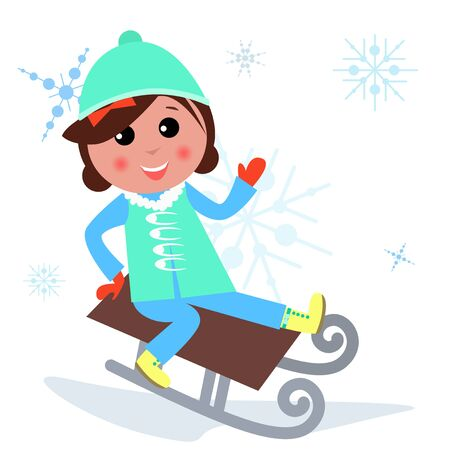 toboggan: illustration of cute girl is playing Winter games. Illustration