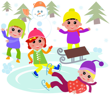 ice skates: illustration of cute kids playing Winter games.