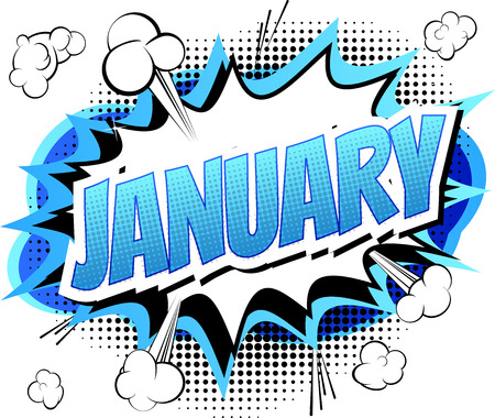 January - Comic book style word on comic book abstract background.