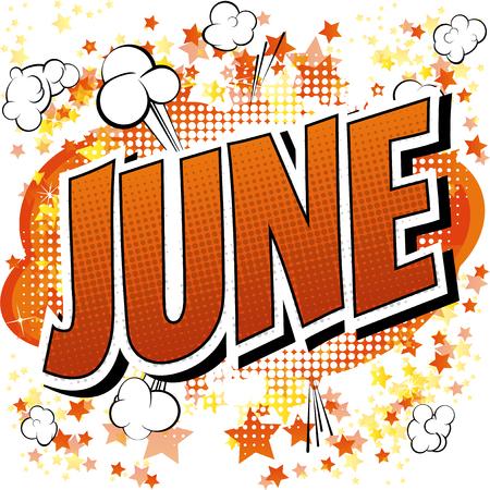 Juin - Comic mot de style de livre sur la bande dessinée abstrait.