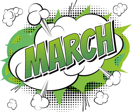 March - Comic book style word on comic book abstract background. Vectores
