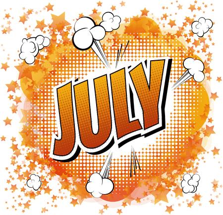 7 月 - コミックの抽象的な背景のコミック スタイル word。