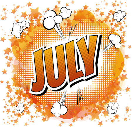 July - Comic book style word on comic book abstract background.